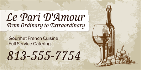 French Cuisine Catering Menu Board: 1002-1