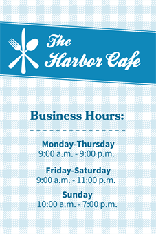 Restaurant Business Hours Menu Board: 1048-1
