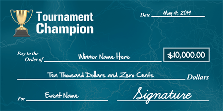 Tournament Champion Prize Check: 1372-1