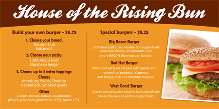 Build Your Own Burger Menu Board: 1445-1