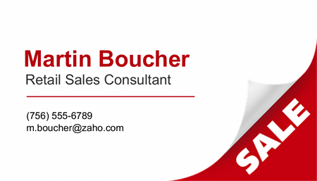 Retail Sales Consultant Business Card: 1799-1