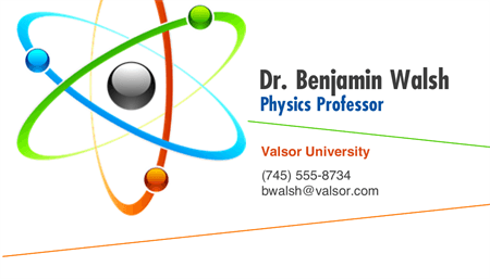 Physics Professor Business Card: 1800-1