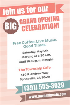 Cafe Grand Opening Yard Sign: 1835-1