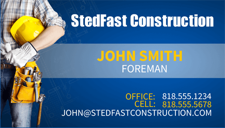 Construction Foreman Business Card: 1895-1