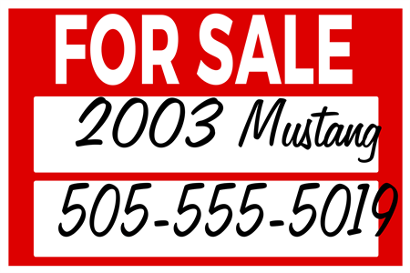 Car For Sale By Owner Car Door Sign: 2369-1
