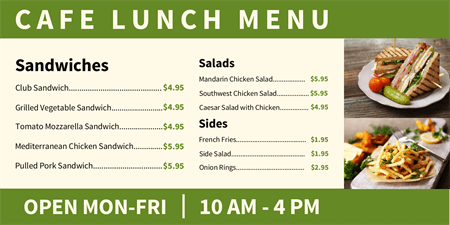 Cafe Lunch Menu Board: 2503-1