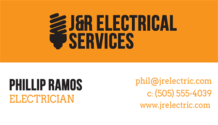 Electrician Business Card: 2538-1