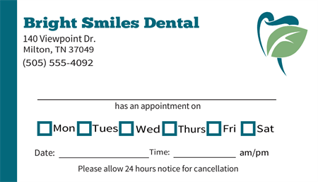 Dental Appointment Date Business Card: 2731-1