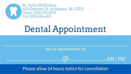 Dental Appointment Reminder Business Card: 2732-1