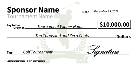 Charity Golf Tournament Award Oversized Check: 118-1