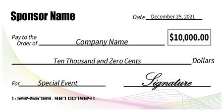 Abstract Business Presentation Oversized Check: 131-1