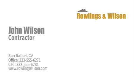 Roofing and Construction Company Business Card: 220-2