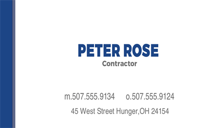 Construction Contractor Business Card: 225-9