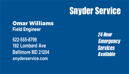 HVAC Emergency Service Business Card: 1039-9