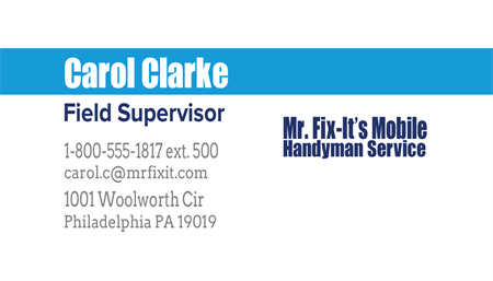 Mechanic Contractor Service Business Card: 229-9