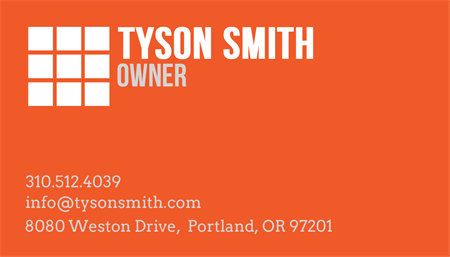 Contracting Services Business Card: 2509-9