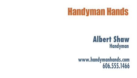 Handyman Repairs Business Card: 523-9