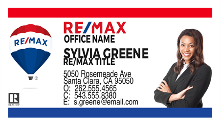 RE/MAX Logo With Agent Photo Business Card: 712-8