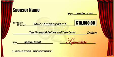 Theater Fundraiser Oversized Check: 425-1