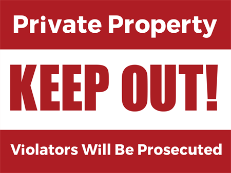 Private Property Yard Sign: 937-6