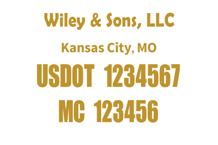 US DOT and MC Lettering: 529-4