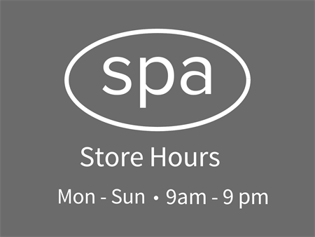 Spa Store Hours Window Decal: 2110-6