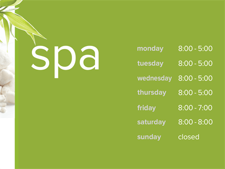 Spa Hours Window Decal: 162-6