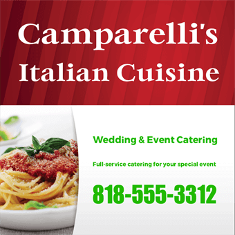 Italian Restaurant Catering and Delivery Backdrop: 845-4