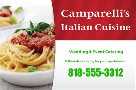 Italian Restaurant Catering and Delivery Lettering: 845-8
