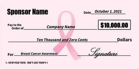 Breast Cancer Sponsorship Oversized Check: 565-1