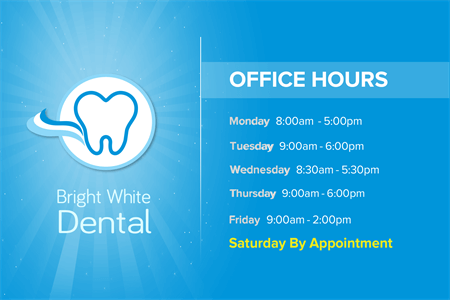 Dentist Office Hours Window Decal: 1044-2