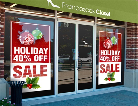 Christmas window decals christmas window clings signazon for Window transfers